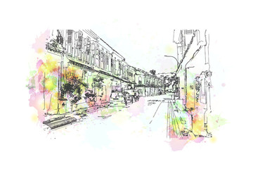 Watercolor sketch of Singapore street in vector illustration.