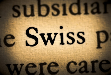 Word swiss in the text