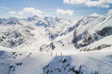 Three people ski touring, Sportgastein, Gastein, Salzburg, Austria