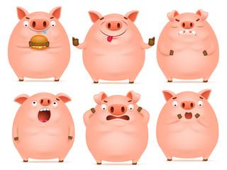 Set of cute cartoon emotional pink pig characters
