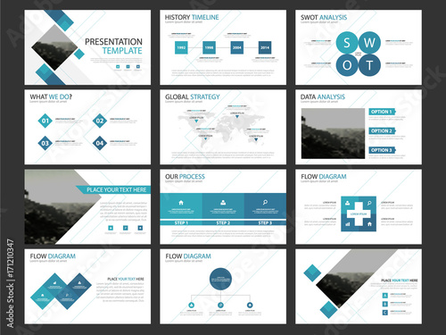 Business Presentation Infographic Elements Template Set Annual - Horizontal brochure template