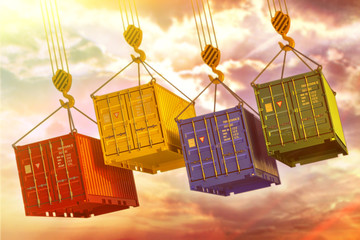 Freight transportation and cargo delivery concept, multicolored containers hoisted by crane hooks on cloudy sky background