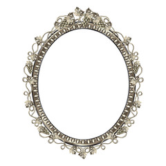 Decorative frame of silvery color of an oval form