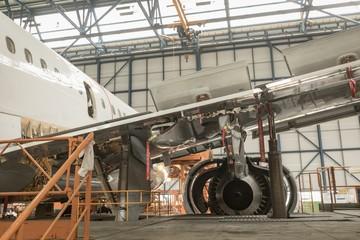Aircraft at airlines maintenance facility