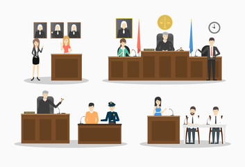 Court illustrations set.