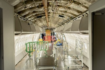 Interior structure of an aircraft under maintenance at airlines