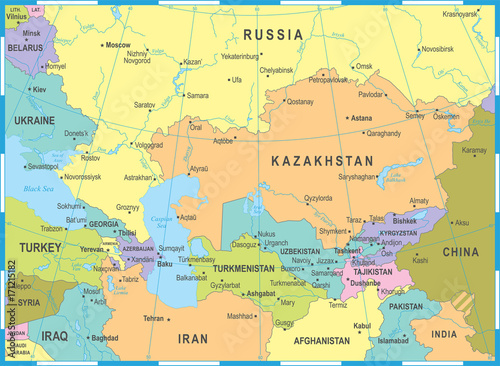 Caucasus and Central Asia Map - Vector Illustration\