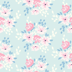 Cute floral pattern in shabby chic style. Vector flower seamless background.