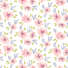 Ditsy floral pattern in library style. Vector flower seamless background.