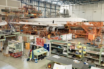 Aircraft at airlines maintenance facility