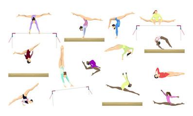 Gymnastics silhouettes set.
