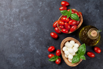 Mozzarella cheese, tomatoes and basil