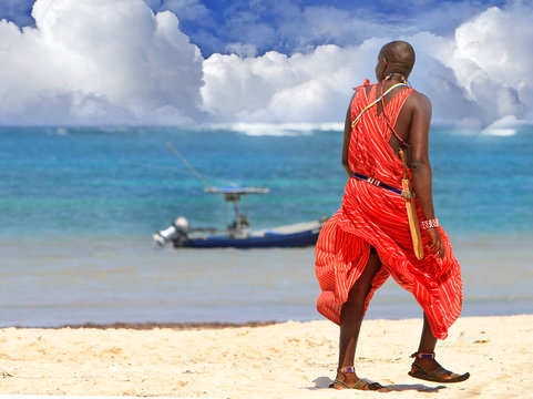 Masai warrior facing out to see in traditiona dress