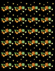 Cute Owl background with flowers and stars