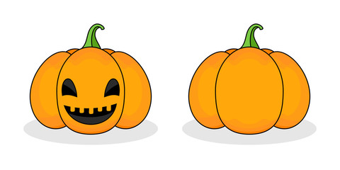 Orange scary pumpkin in thin line flat style. Halloween celebration concept. Vector illustration