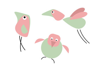 Three comic birds. Cartoon character. Red and green. Isolated objects. White background.