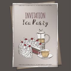 A4 format tea party invitation with color tea press, cup and cake sketch placed on vintage background.