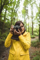 Woman clicking photos of nature