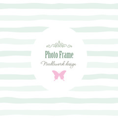 Elegant vintage template - oval frame with decorative elements on stripped background.