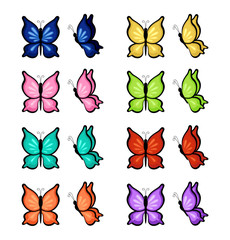 Butterflies of different colors on a white background