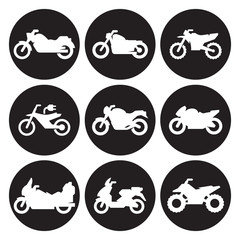 Motorcycles icon set