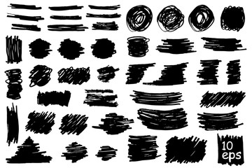 Collection of vector grunge brushes for creating logos, lines and headers. Dirty artistic design elements on withe.