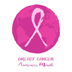 Round logo with Earth globe and pink ribbon from hand written brush strokes on white background. National Breast Cancer Awareness Month. Vector illustration