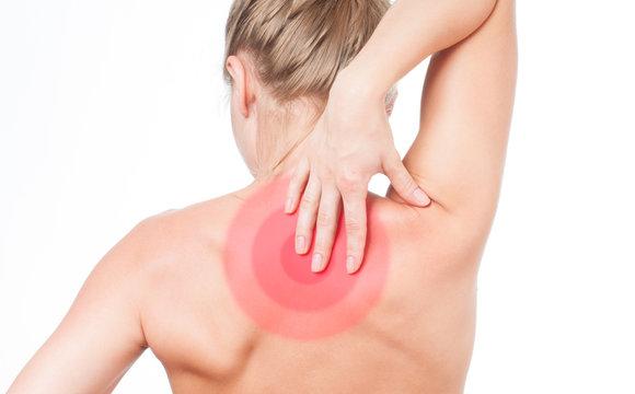 Woman suffering from neckache. Pain shoulders.
