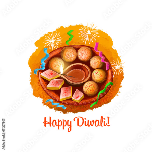 Happy Diwali Digital Art Illustration Isolated On White Background Indian Festival Of Lights Deepavali