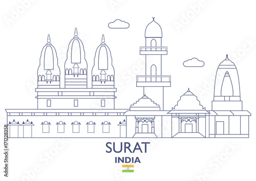 Surat City Skyline India Stock Image And Royalty Free