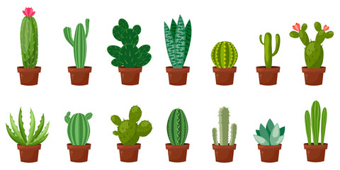 Horizontal banner set of desert, room green cactus. Flat, cartoon style. Vector illustration white background. Element design.