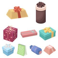 A set of pictures gifts. Gifts for different holidays, surprises. Gift packaging.Gifts and cert icon in set collection on cartoon style vector symbol stock illustration.