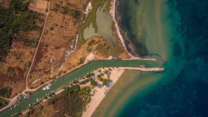Aerial view of a canal joining the sea at South Corfu Greece.