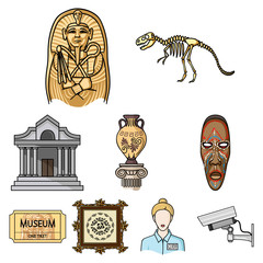 Museum set icons in cartoon style. Big collection of museum vector symbol stock illustration