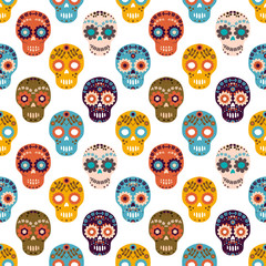 Vector seamless pattern with colorful flower sugar skulls for Halloween designs, textile and clothing