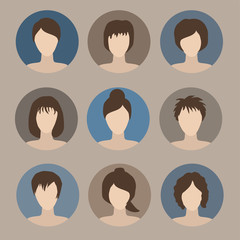 collection of icons of woman in a flat style. female avatars. set of images of young women. vector illustration. faces of girls.