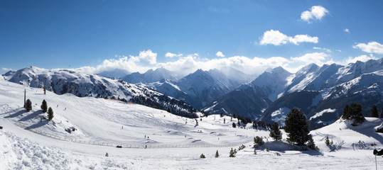 view of Alps in Zillertall valley, Austria