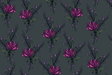 Seamless pattern with cute simple flowers. Floral ornament for textiles, Wallpaper, packaging. Vintage floral background.