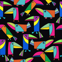 Seamless pattern with cute toucans. Bright birds on a black background.