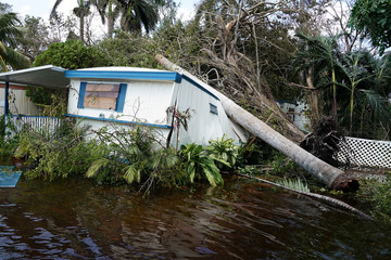 A trailer in a trailer park is pictured following Hurricane Irma in Key Biscayne, Florida