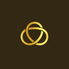 Science technology symbol. Gold knot of gold thread. Simple labyrinth, celtic mascot. Isolated unusual infinity sign. Vector abstract logo on black background.