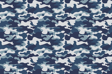 Horizontal banner seamless camouflage pattern background. Classic clothing style masking camo repeat print. Blue, navy cerulean grey colors forest texture. Design element. Vector illustration.