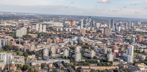 Aerial View Of East London & West Ham Stadium On Background