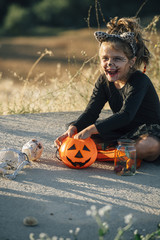 Disguised as a girl with a skeleton, halloween