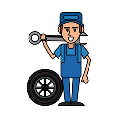 worker holding wrench and tire car workshop icon image vector illustration design