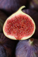 Fig in a section close up