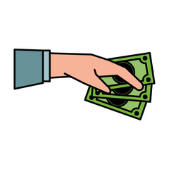 hand holding dollar bills money related icon image vector illustration design