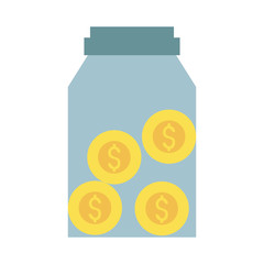 jar with dollar coins money related icon image vector illustration design