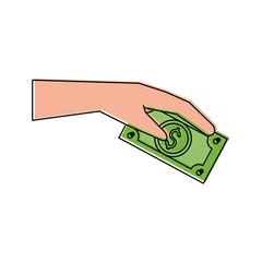 hand holding dollar bill money related icon image vector illustration design