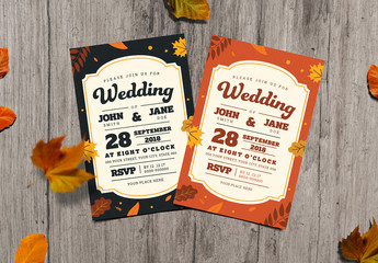 Two Autumn Themed Wedding Invitation Layouts 1